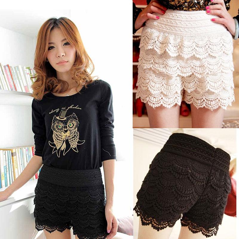 Korean Womens Sweet Cute Crochet Tiered Lace Shorts Skorts Short Pants Fashion   eBay