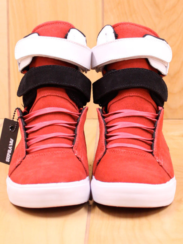 shoes red black and white supras blouse
