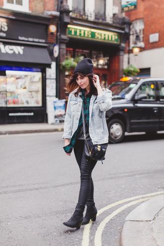 wish wish wish blogger shirt leather pants denim jacket