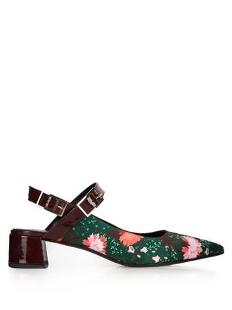 pumps print satin green shoes