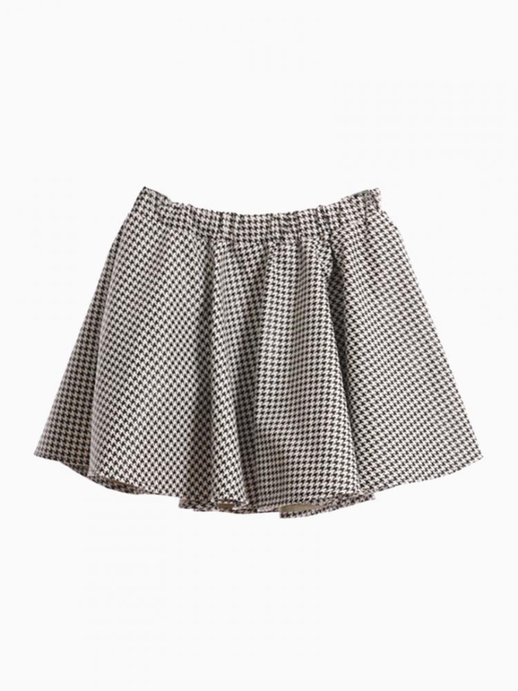Houndstooth Skater Leather Look Skirt   Choies