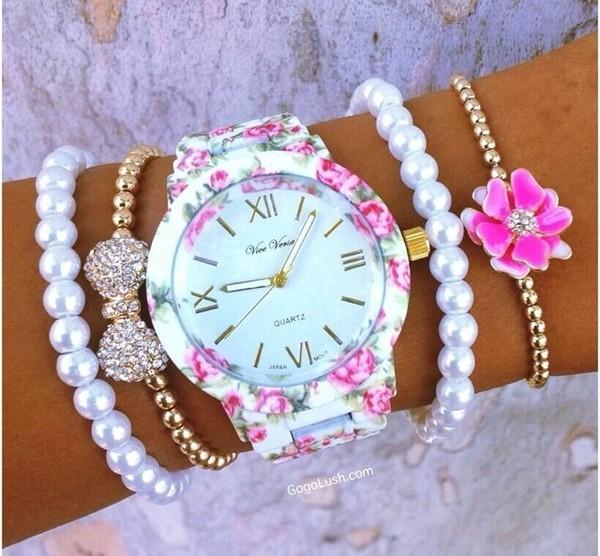 jewels watch flowers bracelets