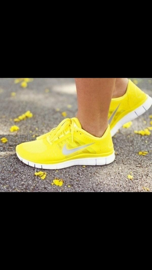shoes yellow nike free runs nike free run workout fitness