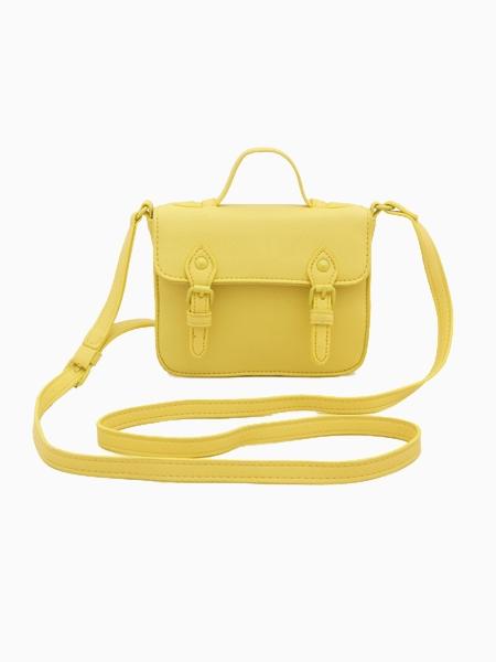 Mini Yellow Satchel Bag With Buckles | Choies