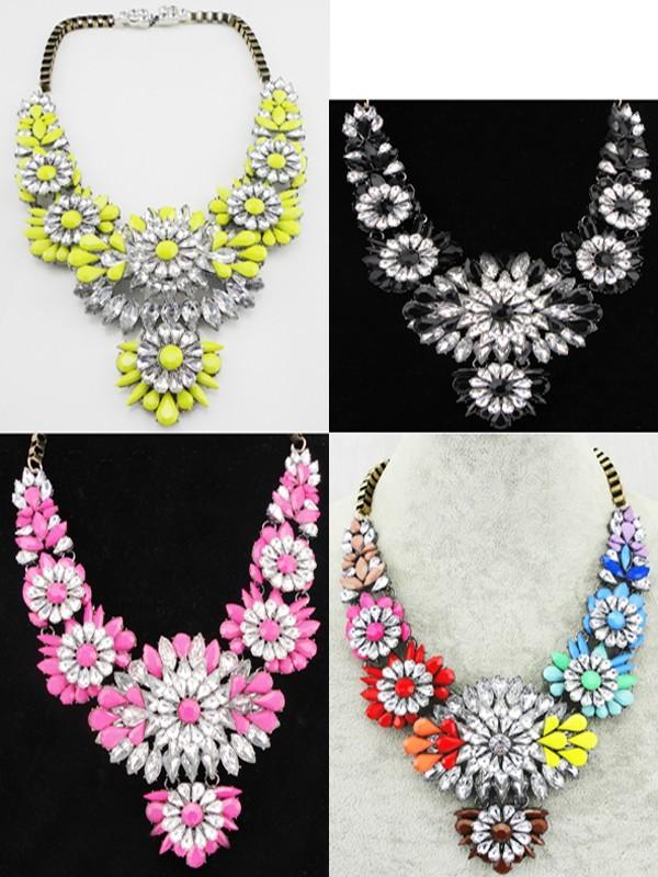 New Women's Fashion Gorgeous Crystal Flower Luxury Choker Bib Necklace XL1185 | eBay