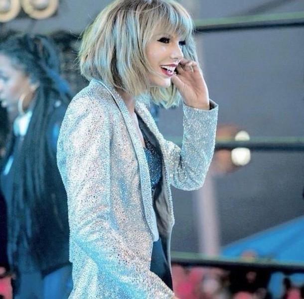 taylor swift sparkle sequins silver blazer jacket