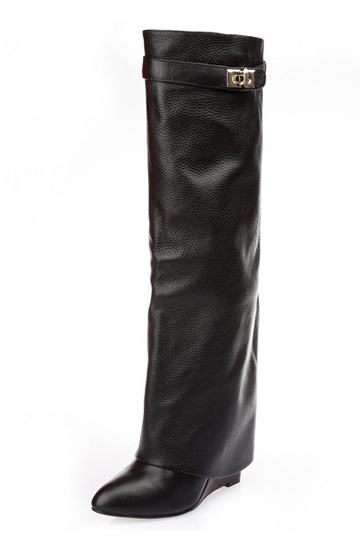 High Street Leather Wedge Knee Boots [HXM1981]- US$140.99 - PersunMall.com