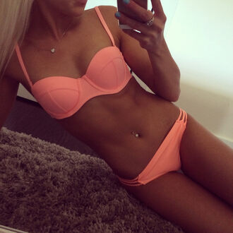 swimwear bikini summer outfits bikini bottoms bikini top pink swimwear triangl pink orange peach tanned girl belly button ring girly fashion corail aprikosen bikini unomatch unomatch shop dress empire dresses red
