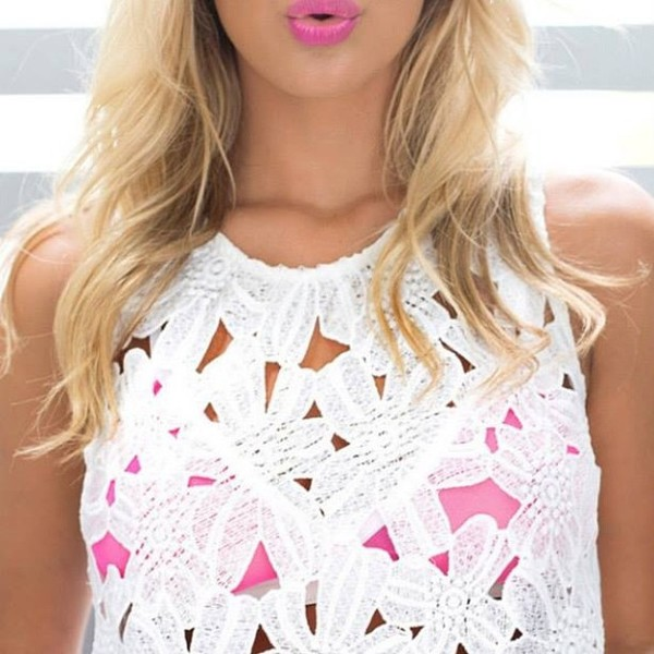lace top white top sleeveless top crochet top