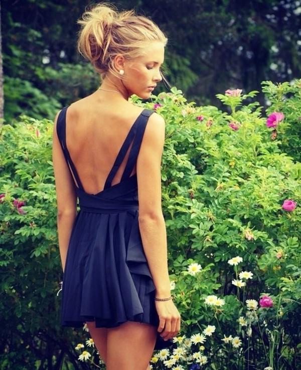 dress navy blue open back cute