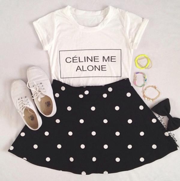 shirt french polka dots black and white bow cute sassy tumblr skirt