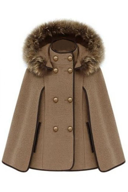 ROMWE   Double Breasted Camel Cape Coat, The Latest Street Fashion