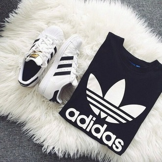shoes adidas superstars sneakers t-shirt adidas casual large black t-shirt sports top streetwear style black adidas originals adidas shoes causal shoes nike running shoes white gold