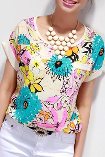 Summer Floral Colorful Chiffon Tee [FCBI00247]- US$13.99 - PersunMall.com