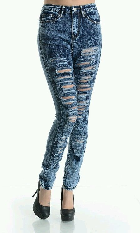 Acid Wash High Waist Destroyed Ripped Skinny Dark Blue Denim Jeans Pants 3X   eBay
