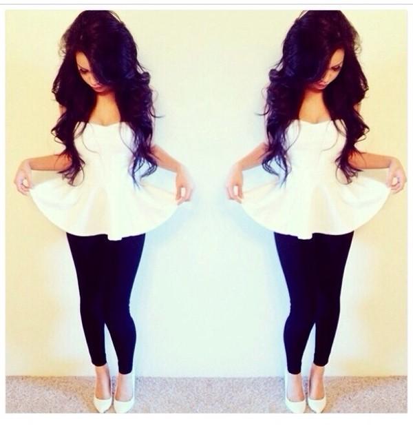 blouse white tank top t-shirt tank top dress top white peplum