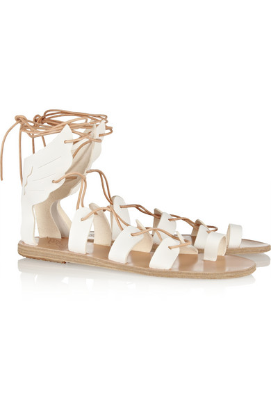 Ancient Greek Sandals | Fteroti leather lace-up sandals | NET-A-PORTER.COM