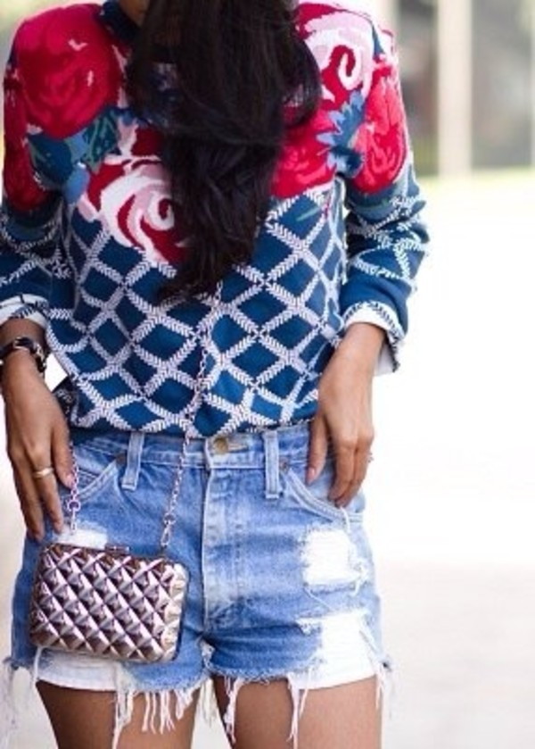 sweater floral top jeans bag
