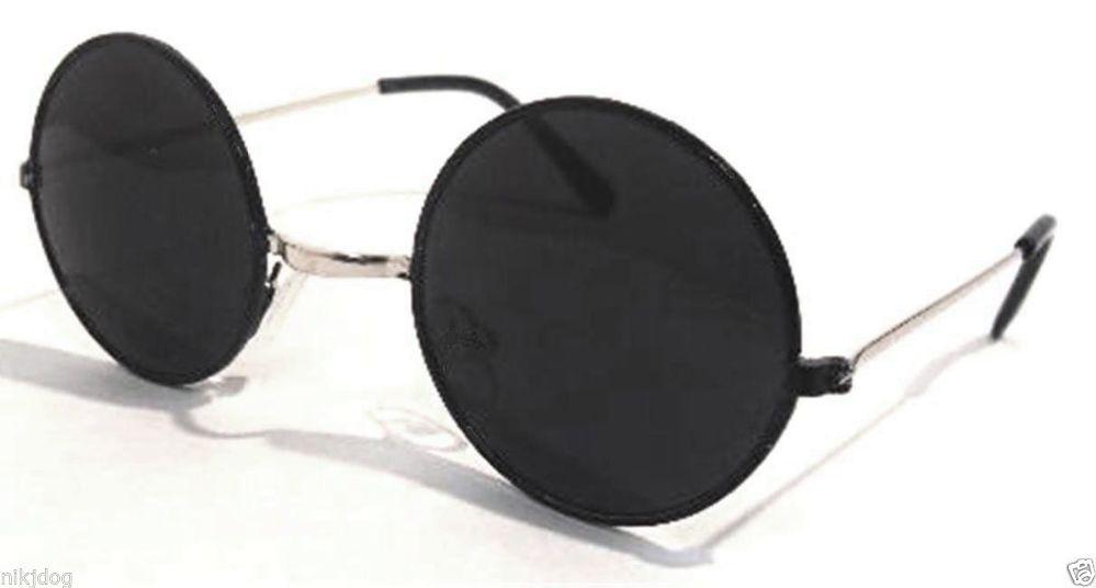 John Lennon Sunglasses Round Black Frame Silver Arms Super Dark Black Lenses   eBay
