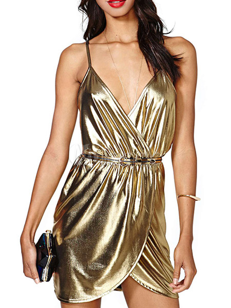 Sexy Gold Straps Sash Racerback Club Dress - Milanoo.com