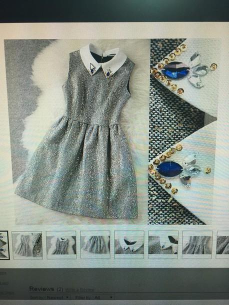 dress silverdress carina cute dress sleeveless dress grey dress