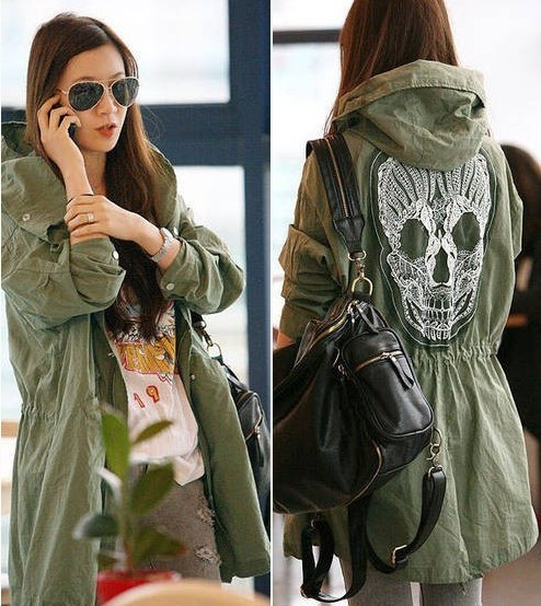B010 Free Shipping Spring 2014 New Women's Mesh Skull Skeleton Punk Military Green Style Jackets with Hoodies Slim Waist on Sale-in Basic Jackets from Apparel & Accessories on Aliexpress.com