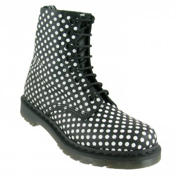 Dr Martens Black & White 1460 8 Eyelet Pascal Polka Dot Leather Boot - Dr Martens from Caves UK