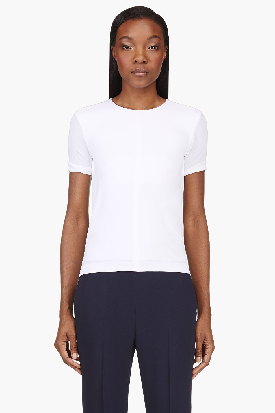 t by alexander wang white draped open back t_shirt