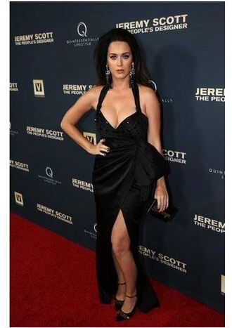 shoes pumps katy perry gown prom dress slit dress