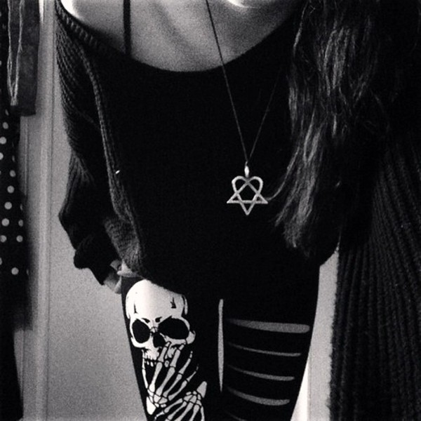 pants satan satan goth leggings skull tights alternative sweater black goth jewels