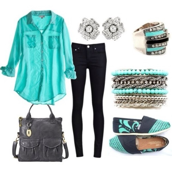 blouse aqua jeans shoes bracelets ring diamond earrings bag jewels