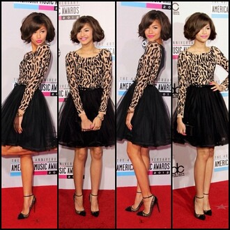dress black and brown dress leaopard zendaya shoes