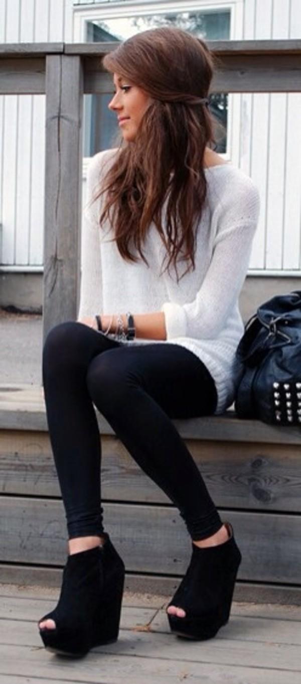 sweater leggings black leggings tights white sweater oversized sweater cute girly brunette shoes white lovely