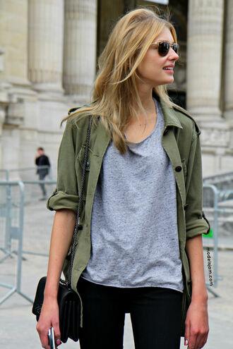 t-shirt grey t-shirt jacket bag blouse model shirt overshirt green khaki green olive green casual brand shop green jacket