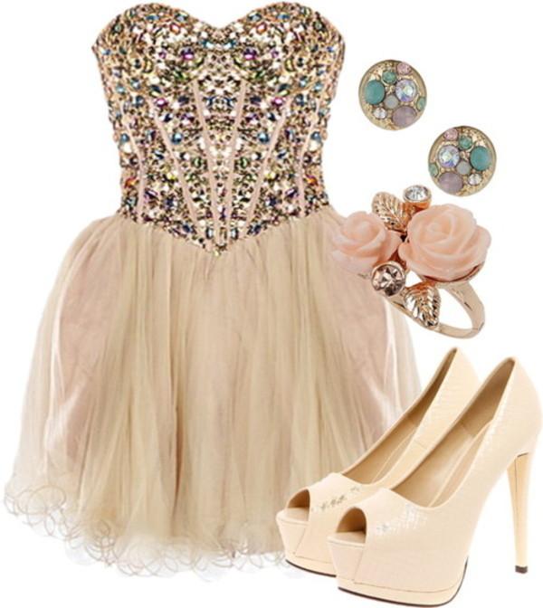 dress diamonds homecoming dress rose ring gorgeous shoes