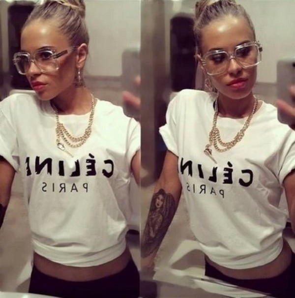 t-shirt white letter short t-shirt celine paris shirt blouse sunglasses i want this glasses.