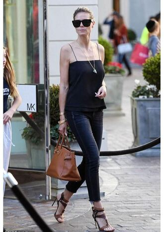 top sandals jeans heidi klum streetstyle