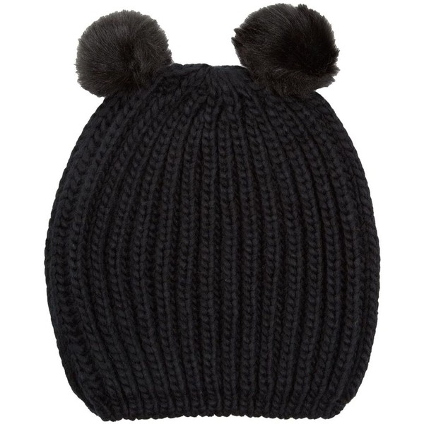 Black Animal Pom Ear Beanie - Polyvore