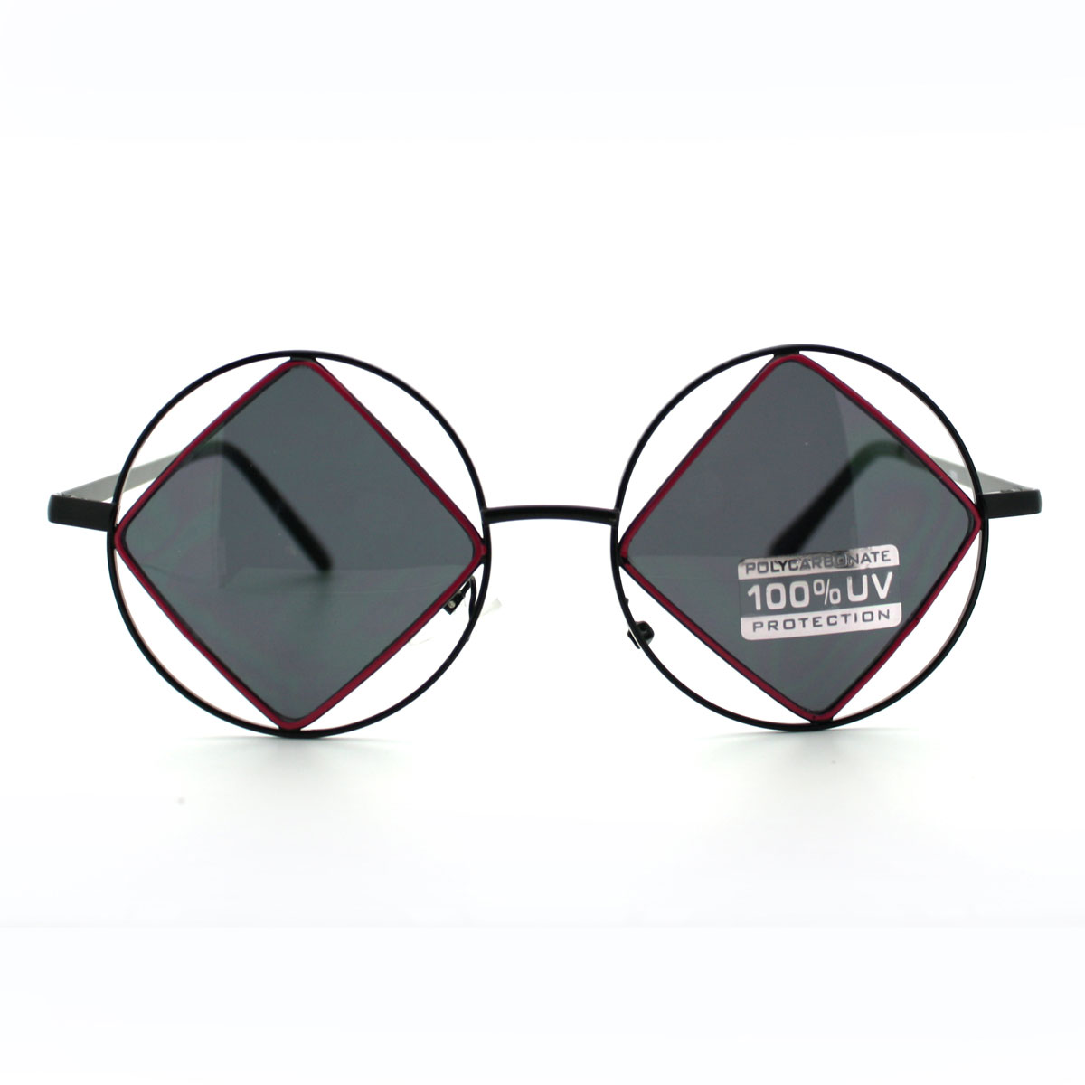 Double Circle and Diamond Metal Rim Runway Sunglasses | eBay