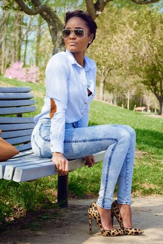 jeans top sunglasses shoes blouse high waisted shirt blue jean button down patch elbows denim shirt with brown/tan elbow patches