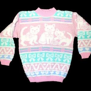 Vintage 80s Acrylic Sparkle Kitty Cat Tacky Ugly Sweater Women's Size Medium (M)
