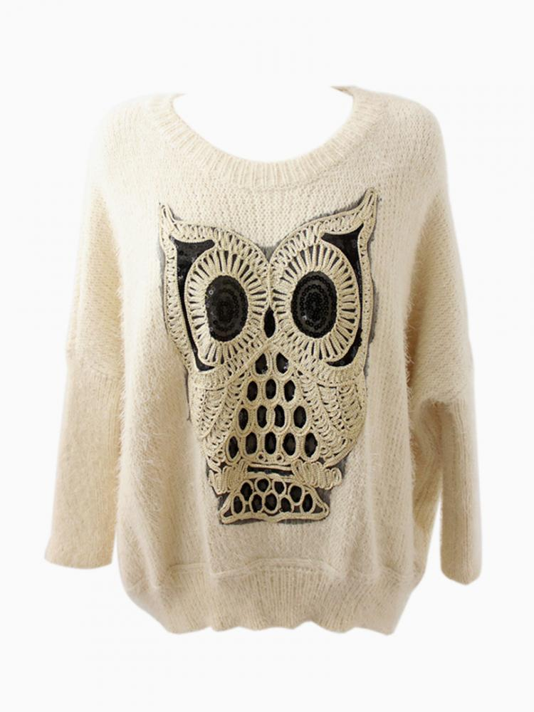 Oversized Owl White Jumper With Sequin Detail | Choies