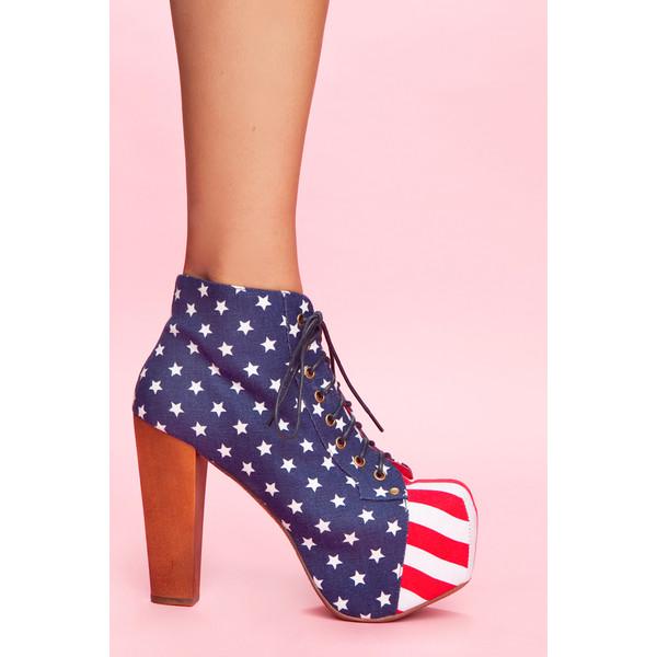 Jeffrey Campbell Lita Platform Boot - American Flag - Polyvore