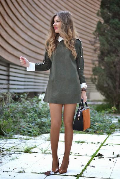 mi aventura con la moda blogger bag winter dress collared dress dress coat shoes