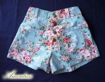 """High Waist Shorts Floral Shorts Blue With Pink Floral Inspired Shabby Chic Shorts - -Size S-M- 12""""SH on Luulla"""
