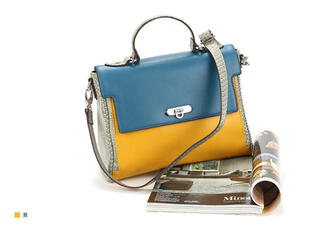 bag faux-leather color-block flap satchel yellow blue blue and yellow