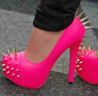 shoes pumps pink rivets platform shoes pink high heels prom dress fashion style live love pink prom dress clothes spiked shoes