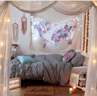home accessory boho map print bedding home decor bedroom bedsheets tapestry dorm tapestry globe wall tapestry light room bed pink blue pattern grey