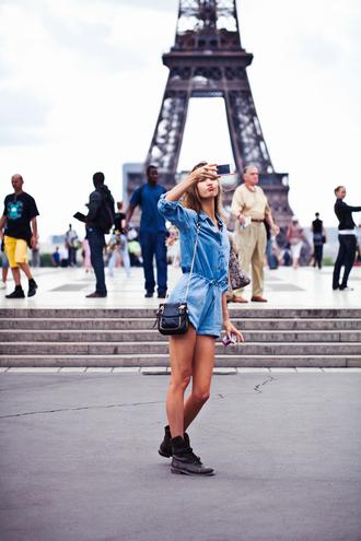 romper blue t-shirt blue shorts eiffel tower shorts