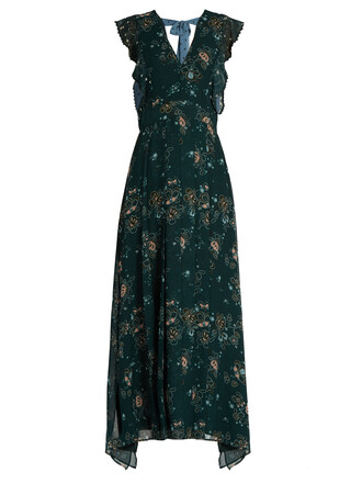 dress back floral print green